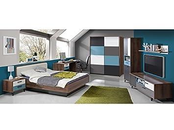 Jugendzimmer Raven Komplett Verschiedene Ausführungen Kinderzimmer Möbel  (Zimmer Raven 7 Tlg 140er Bett, Schwebetürenschrank