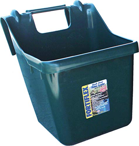 Fortiflex Hook Over Fence Feeder for Dogs/Cats and Horses, 16-Quart, Hunter Green ()