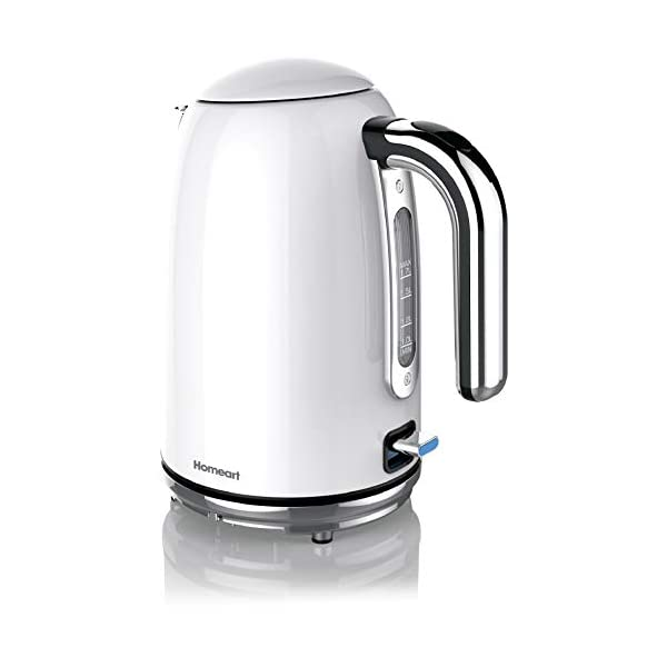 Homeart Premium Electric Kettle, Teapot, Water Boiler, Stainless Steel, 1.7 Liter, Pearl White 1