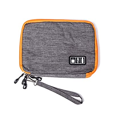 Travel Electronics Storage Organizer Bag Orange Grey Phone Charger Power Bank USB Cable Hard Drive Memory Card Carry On Packing Cube Accessories Gray 9.84 x 7.09 x 1.57 Inches
