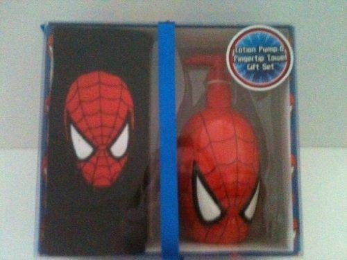 Marvel Spiderman Lotion Pump and Fingertip Towel Set