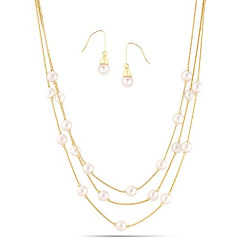 TAZZA CREAM GLASS PEARL WITH GOLD THREE-STRAND NECKLACE AND EARRINGS SET #HNNE084_GLD-CRM