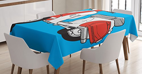 Funky Tablecloth by Ambesonne, Cute Scooter Motorcycle Retro Vintage Vespa Soho Wheels Rome Graphic Print, Dining Room Kitchen Rectangular Table Cover, 60 W X 90 L Inches, Blue Vermilion White (Soho Print Multi)