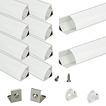 Muzata Aluminum Channel for Led Strip Light with Milky White Diffuser  Cover  Aluminum Profile with Video, V-Shape, 10-Pack 6 6ft/2M V2SW,Series  LV1