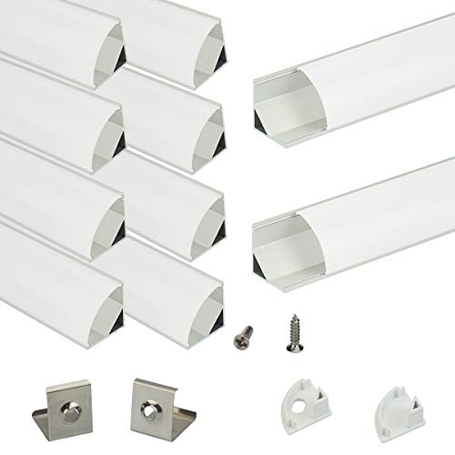 - V-Shape Led Aluminum Channel, Muzata 10-Pack 1Meter/3.3ft Led Channels and Diffusers with End Caps and Mounting Clips for LED Flexible Light Strip Mounting V1SW