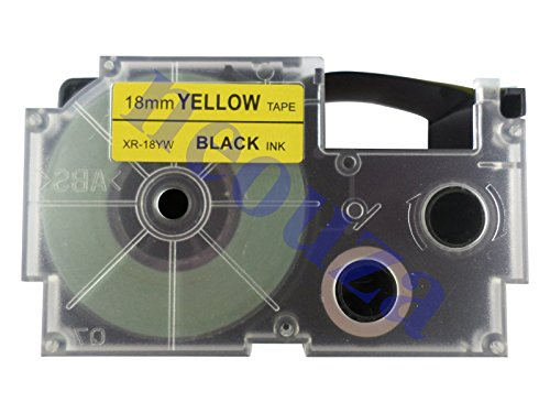 (Compatible for Casio EZ-Label Tape 18mm Black on Yellow XR-18YW1 8m LABEL IT!)