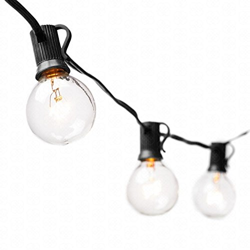 Price comparison product image Great Mountain Supply G40 String Lights with 30 Clear Globe Bulbs Black