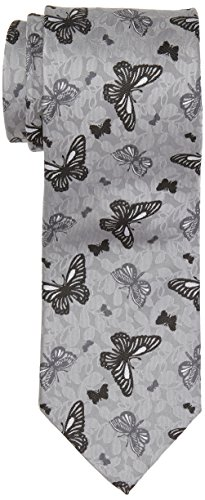 Notch Men's Necktie PEPE - Light grey base, butterflies in darker grey - In Grey Butterfly Shades Of