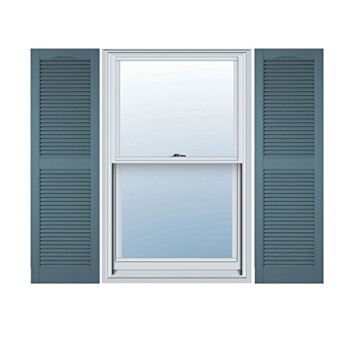 14 1/2''W x 55''H Standard Size Cathedral Open Louver Shutter, w/Installation Shutter-Lok's, 004 - Wedgewood Blue by ArchitecturalDepot.com