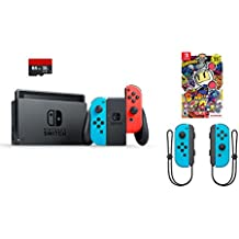 Nintendo Swtich 4 items Bundle:Nintendo Switch 32GB Console Neon Red and Blue,64GB Micro SD Memory Card and an Extra Pair of Nintendo Joy-Con (L/R) Wireless Controllers Neon Blue,Super Bomberman R