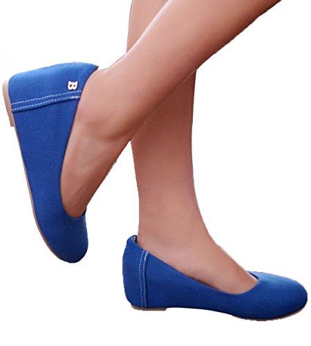 Beautosoul Donna Casual Tacco Cuneo Pompe Colorate Tacchi Alti Per Le Signore Blu