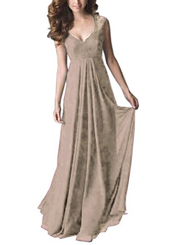 SYLVIEY Women's Vintage Lace V Neck Sleeveless Maxi Bridesmaid Evening Dress (Medium, Beige)
