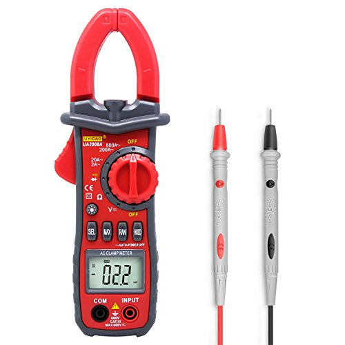 Digital Clamp Meter Testing,UYIGAO 6000 Counts Auto-ranging Multimeter with AC/DC Voltage, Resistance, AC Current, Diode Test, Build in Flashlight and 3 Number Digital LCD Display (UA2008A) (Use Digital Clamp Meter)