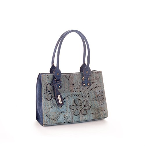 Artelusa Cork Top Handle Handbag Bicolor Light Blue/Blue Floral Pattern Eco-Friendly Handmade in Portugal