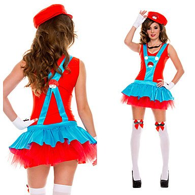 Super Mario Luigi Brothers Plumber Red Polyester Women's Carnival Costume , XL ()