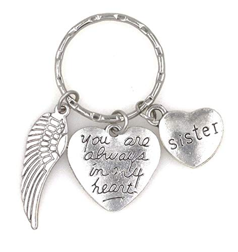 You are Always in My Heart Sister and Angel Wing Charms Keychain AIMH/W/Sister (KC 107M) (107 Days Until Christmas)