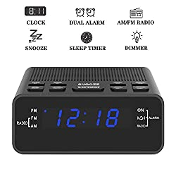 Alarm Clock, AM/FM Digital Alarm Clock Radio with LED Display,Dual Alarm Clock with Sleep Timer, Dimmer, Snooze Battery Backup for Bedrooms,Bedside,Desk,Shelf