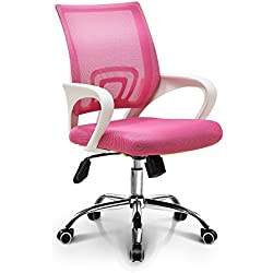 Ergonomic Home Office Computer Chair: Pink Mesh Mid-Back Fashionable Swivel Tilt, Neo Chair