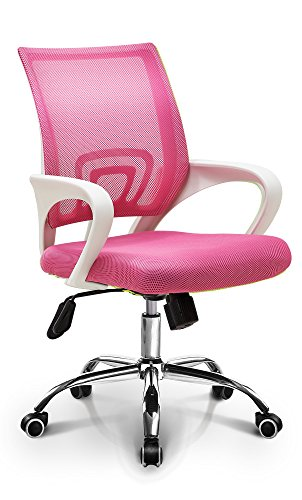 (Neo Chair Fashionable Home Office Chair Conference Room Chair Desk Task Computer Mesh Chair : Ergonomic Lumbar Support Swivel Adjustable Tilt Mid Back Wheel (Fashion Mesh Pink))