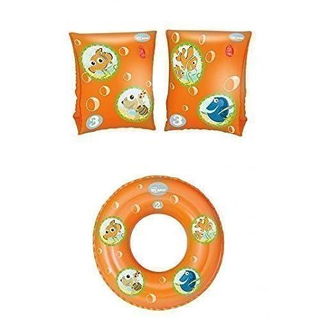 Juego de playa anillo flotador y flotadores de brazo de Nemo Y Amigos en naranja 3-6 Años: Amazon.es: Juguetes y juegos