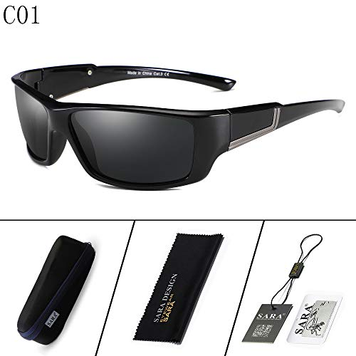 QYEND Men's Sports Polarized Sunglasses Driving Glasses Large Frame Windshield Sunglasses Retro Cycling Glasses,C3 ()