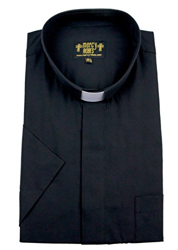 Mercy Robes Mens Short Sleeves TAB Collar Clergy Shirt (20