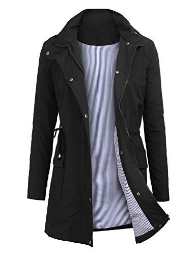 OUTAD Women's Rain Jacket Windbreaker Lightweight Waterproof Raincoats Outdoor Hooded Trench Coats Black
