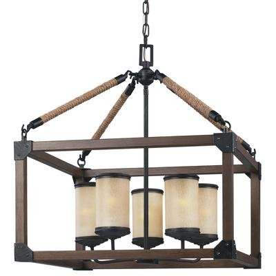 Sea Gull Lighting 3113305-846 Dunning Five Light Chandelier in Stardust with Creme Parchment Glass, Stardust
