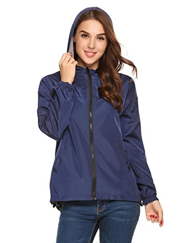 Onbay Women Double Sides Wear Hooded Zipper Lightweight Active Outdoor Wind Rain Jacket