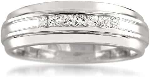 14k White Gold 7-Stone Princess-cut Diamond Men's Wedding Band Ring (1/3 cttw, I-J, I1-I2)