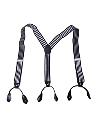 HDE Men's Formal Fashion Button End Adjustable Dress Suspenders - 1 1/4 Inch Wide (Black & White Striped)