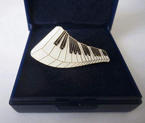 Gold Plated Cloisonne Piano Keyboard Lapel Pin Badge - Gift Boxed