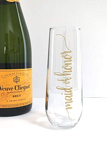 Gold Maid of Honor Stemless Champagne Flute