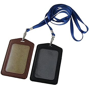 Amazon uxcell faux leather badge id card vertical holders 2 uxcell faux leather business id badge card holders 2 piece black brown reheart Gallery