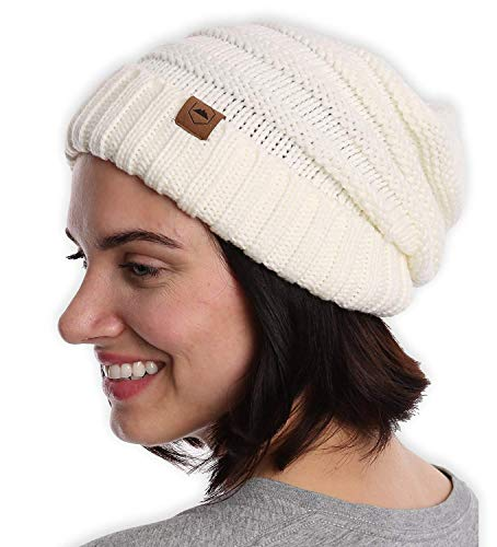 - Slouchy Cable Knit Cuff Beanie - Chunky, Oversized Slouch Beanie Hats for Men & Women - Stay Warm & Stylish - Serious Beanies for Serious Style
