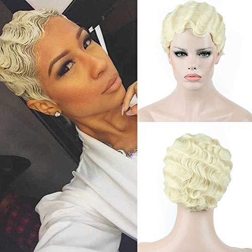 DIFEI Women Black/Blonde/Golden/Brown Short Finger Wave Curly Wigs Nuna Wigs Janet Collection (Blonde)