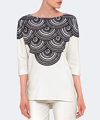 Top De Estampado Con Espirales Mujeres Camiseta Y Negro Pedro Isabel Crudo FS7wxIqfq