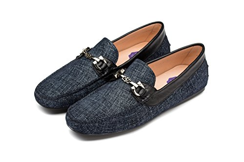 OPP Mens Fashion Slip-on Driving Casual Loafer Shoes Metal Decoration Breathable 2016 Collection Blue rK3IApO2f