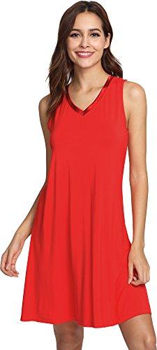 GYS Women's Bamboo Viscose Sleeveless V Neck Nightgown, XX Large, ()