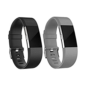 For Fitbit Charge 2 Bands, Adjustable Replacement Bands with Metal Clasp for Fitbit Charge 2 Wristbands Classic Edition Black Grey Large