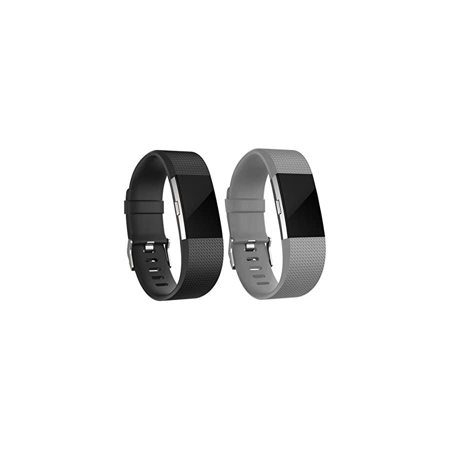 iGK Silicone Replacement Bands Compatible for Fitbit Charge 2, Adjustable Breathable Sport Strap Smartwatch Fitness Wristband with Air Holes