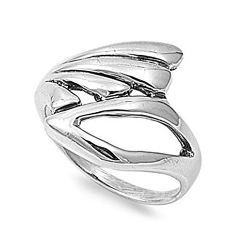 Abstract Design Ring - Sterling Silver Polished Abstract Wing Design Ring - size10