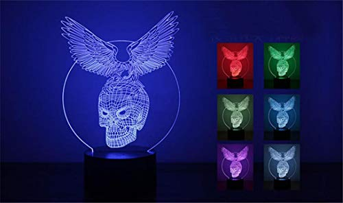 Yezike LED Night Light, 3D Optical Illusion LED Night 7 Colors Change Magic Touch Night Light Home Bedroom Pubs Bars Cafes Restaurants Halloween Christmas Decor Cable (Eagle Skull) ()