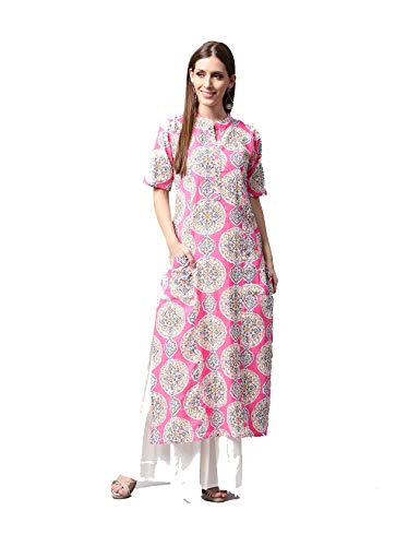 (Women Pink & White Printed Kurta with Skirt Full Set Dream Angel Fashion (Medium-36))