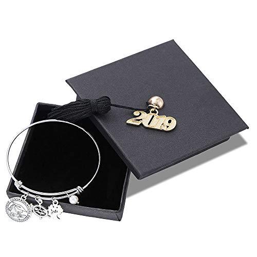 (Inspirational 2019 Graduation Gifts Bracelet - Inspirational Adjustable Bracelet Graduation Mantra Quote Keep Going Bracelet with Graduation Cap Chrams Graduation Friendship Gifts for Her Him)