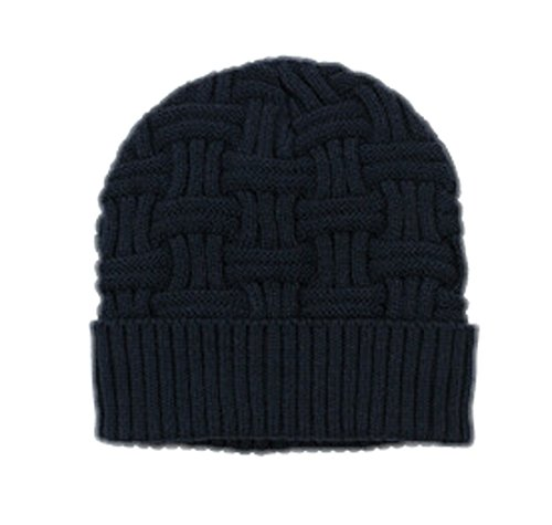 Spikerking Mens Winter Knitting Wool Warm Hat Daily Slouchy Beanie Skull Cap,Navy Blue