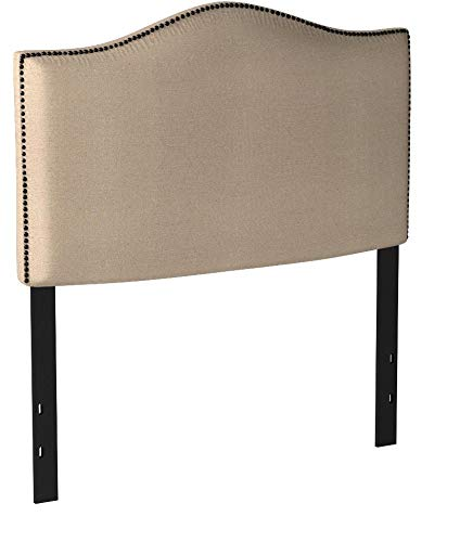 Better Homes and Gardens Grayson Linen Headboard with Nailheads (King, Oatmeal)
