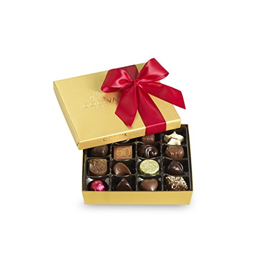 Godiva Chocolatier Red Ribbon Gold Ballotin Assorted Gourmet Chocolates 19 Piece Gift Box, Great for - Milk Chocolate Box Solid Gift