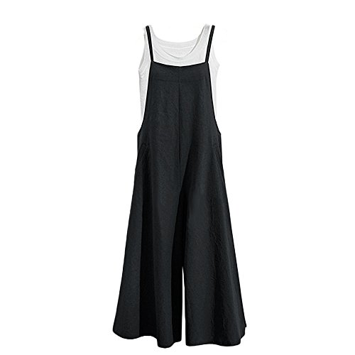 Tearmer Fashion Womens Onepiece Casual Cotton Long Loose Suspender Solid Color Jumpsuits Overall S-5XL Black from Tearmer
