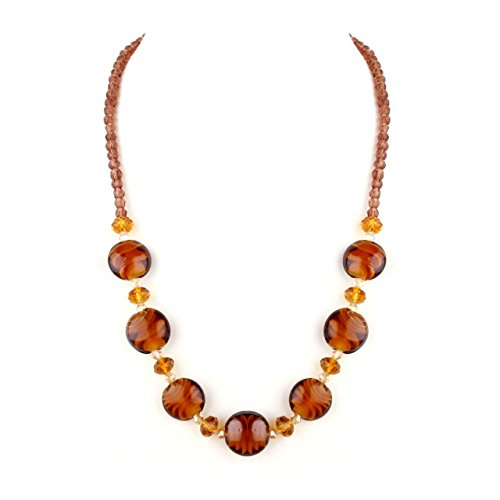 Luna Collection Amber Murano Glass and Crystals Necklace (Amber Murano Crystal)